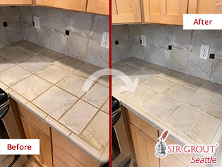 Before and after Picture of a Tile and Grout Cleaning Job in Seattle, WA