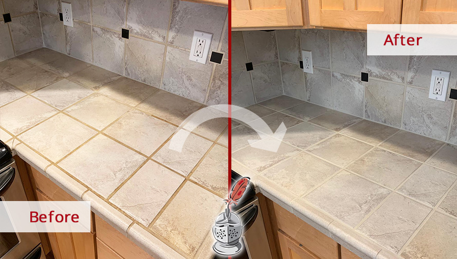 Before and after Picture of This Kitchen Countertop after a Tile and Grout Cleaning Service in Seattle, WA