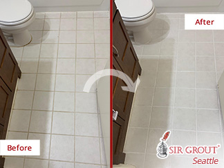 Picture of a Bathroom Floor Before and After Our Tile and Grout Cleaners Service in Bellevue, WA