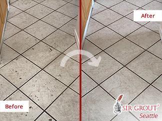 Before and After Picture of a Tile Cleaning Job in Lynnwood, WA