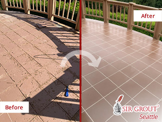 Before and After Picture of a Tile and Grout Cleaning Service in Mukilteo, WA