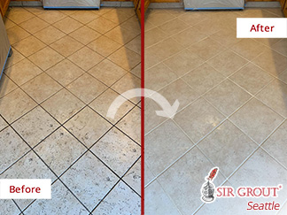 Picture of a Kitchen Floor Before and After a Grout Cleaning Service in Lynnwood, WA