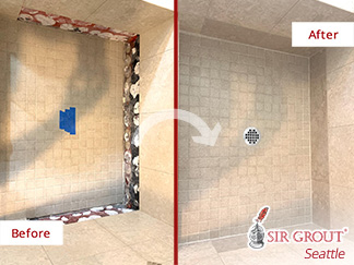Before and After Picture of a Hard Surface Restoration Service in This Shower in Issaquah, WA
