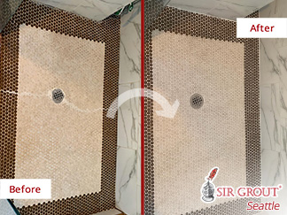 Before and After Picture of a Tile Cleaning Job in Everett, WA