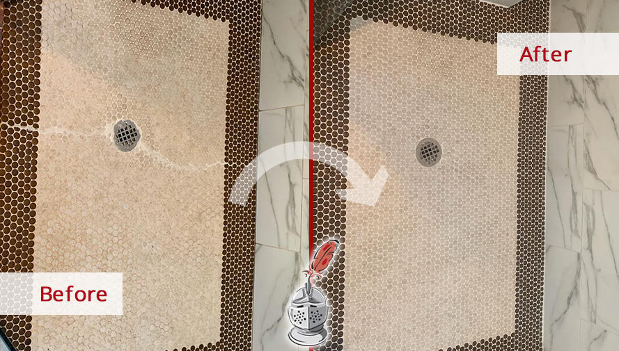 Picture of a Shower Before and After a Tile Cleaning Service in Everett, WA