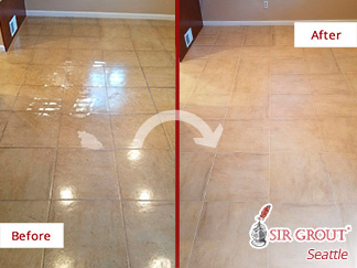 Before and After of a Polyurethane-covered Kitchen Ceramic Tile Floor After a Seattle Tile Sealing Service