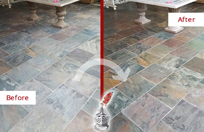 Before and After Picture of a Slate Floor Cleaned and Color Enhanced
