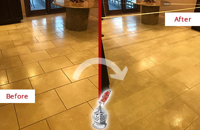 Before and After Picture of an Entrance Lobby Floor