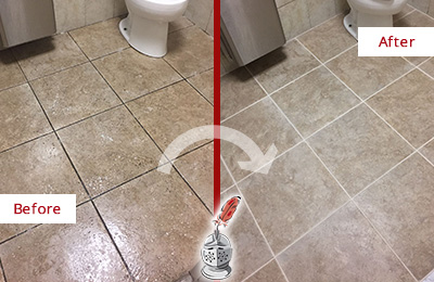 Before and After Picture of a Tile Grout Cleaning in an Office's Restrooms