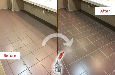 Before and After Picture of a Mountlake Terrace Restrooms Tile and Grout Cleaned to Remove Embedded Dirt