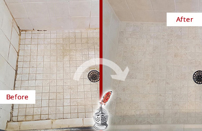 Before and After Picture of a Sammamish Shower Caulked to Fix Cracks