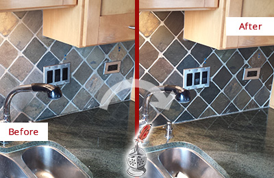 Before and After Picture of a Sammamish Backsplash Caulked to Fix and Prevent Water Leaks