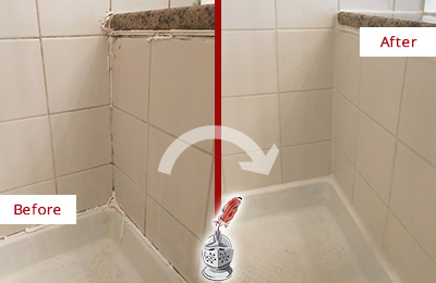 Before and After Picture of a Snohomish Shower Caulked to Repair Damaged Caulking