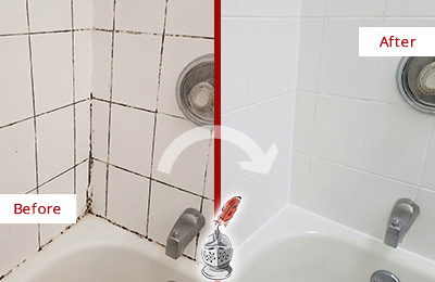 Before and After Picture of a Sammamish Tub Caulked to Remove and Avoid Mold