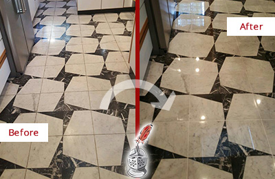 Before and After Picture of a Dull Everett Marble Stone Floor Polished To Recover Its Luster