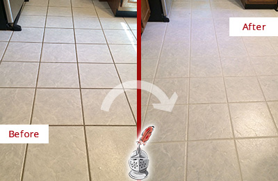 Before and After Picture of a Mill Creek Kitchen Ceramic Floor Sealed to Protect From Dirt and Spills