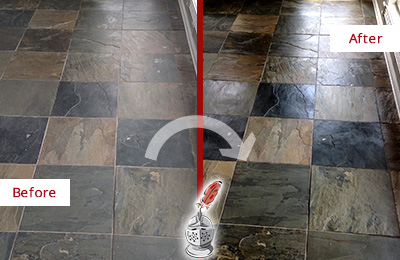 Before and After Picture of a Dull Mill Creek Slate Floor Sealed to Bring Back Its Colors