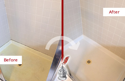Before and After Picture of a Mill Creek Shower Sealed to Remove and Protect Against Mold