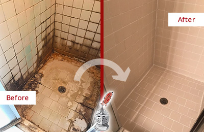 Before and After Picture of a Mill Creek Shower Sealed to Fix and Prevent Water Damage