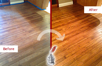 Before and After Picture of a Monroe Wood Deep Cleaning Service on a Dull Floor to Recover Its Sheen