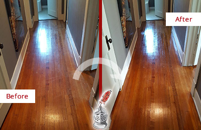Before and After Picture of a Monroe Wood Deep Cleaning Service on a Floor to Eliminate Scratches