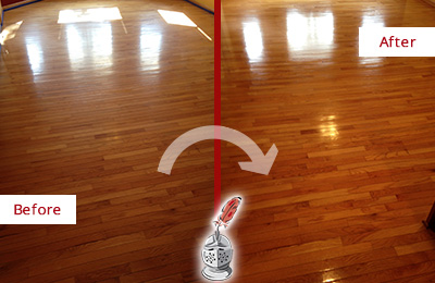 Before and After Picture of a Monroe Wood Deep Cleaning Service on a Room Floor to Remove Scratches