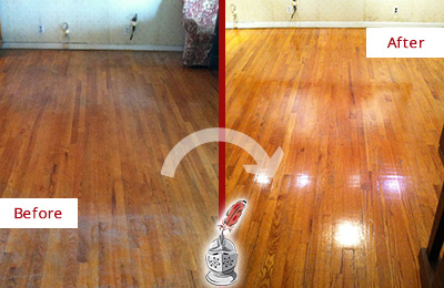 Before and After Picture of a Monroe Wood Deep Cleaning Service on a Stained Floor