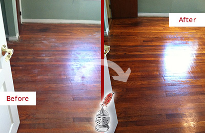 Before and After Picture of a Monroe Wood Deep Cleaning Service on a Dull Floor to Remove Stains