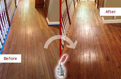 Before and After Picture of a Monroe Wood Deep Cleaning Service on a Worn Out Floor