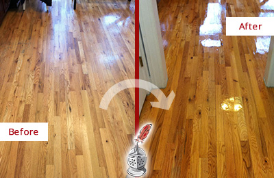 Before and After Picture of a Monroe Wood Deep Cleaning Service on a Worn Out Hallway