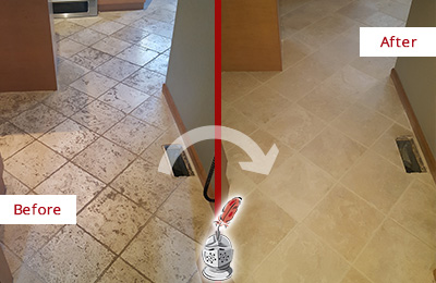 Before and After Picture of a Bellevue Kitchen Marble Floor Cleaned to Remove Embedded Dirt