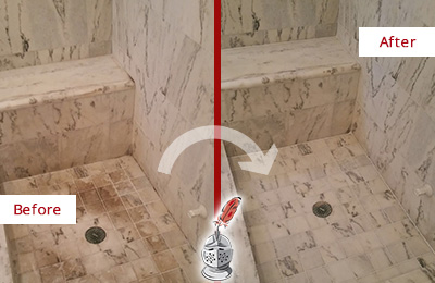 Before and After Picture of a Dirty Bellevue Marble Shower Cleaned to Eliminate Dark Stains