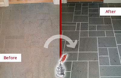 Before and After Picture of a Bellevue Slate Floor Cleaned to Remove Deep-Seated Dirt