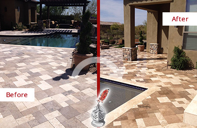 Before and After Picture of a Dull Edmonds Travertine Pool Deck Cleaned to Recover Its Original Colors