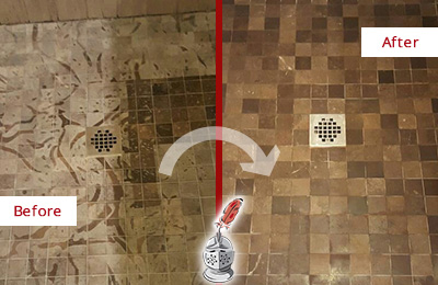 Before and After Picture of a Stained Bellevue Marble Shower Floor Cleaned to Remove Etching