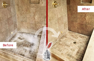 Before and After Picture of a Bellevue Travertine Shower Cleaned to Eliminate Water Spots