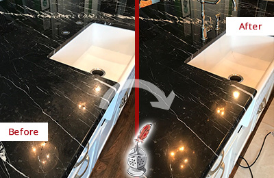 Before and After Picture of a Lynnwood Marble Kitchen Countertop Stone Sealed to Avoid Water Damage