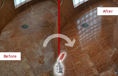 Before and After Picture of Damaged Redmond Marble Floor with Sealed Stone