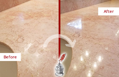 Before and After Picture of a Redmond Marble Stone Vanity Top Sealed to Avoid Water Marks