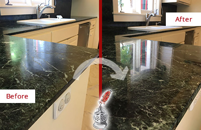 Before and After Picture of a Edmonds Marble Kitchen Countertop Honed to Remove Water Marks