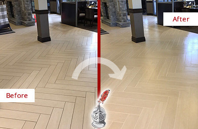 Before and After Picture of a Sammamish Hard Surface Restoration Service on an Office Lobby Tile Floor to Remove Embedded Dirt