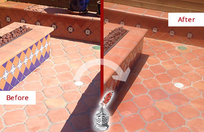 Before and After Picture of a Medina Hard Surface Restoration Service on a Dull Terracotta Patio Floor to Recover Its Color