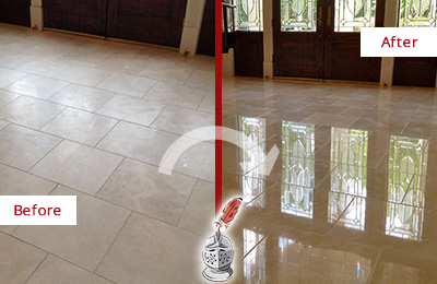 Before and After Picture of a Medina Hard Surface Restoration Service on a Dull Travertine Floor Polished to Recover Its Splendor
