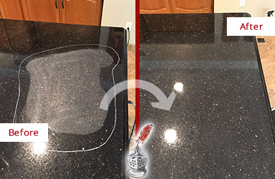 Before and After Picture of a Sammamish Hard Surface Restoration Service on a Granite Countertop to Remove Scratches