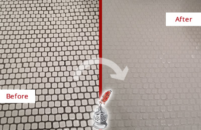 Before and After Picture of a Medina Hard Surface Restoration Service on a Bathroom Tile Floor Recolored to Fix Grout Color