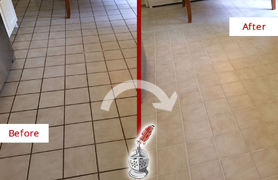Before and After Picture of a Mukilteo Kitchen Tile Floor with Recolored Grout