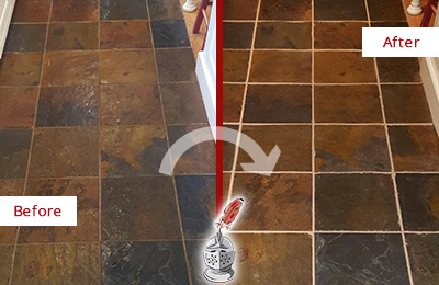 Before and After Picture of a Bellevue Slate Floor Recolored Grout