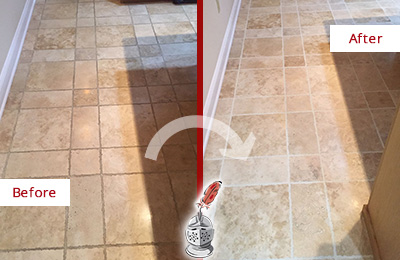 Before and After Picture of a Mukilteo Travertine Kitchen Floor Recolored Grout