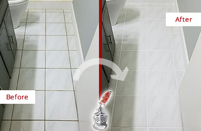 Before and After Picture of a Bellevue White Ceramic Tile with Recolored Grout