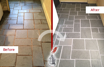 Before and After Picture of Damaged Sammamish Slate Floor with Sealed Grout